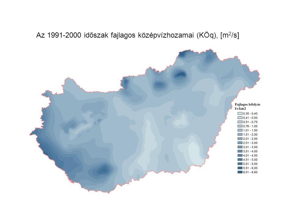Az 1991-2000 időszak fajlagos középvízhozamai (KÖq), [m2/s]